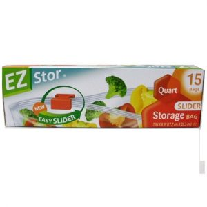 EZ Stor Storage Bags 15ct 1qt Slider