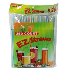 EZ Straws 250ct Flexible Asst Clrs