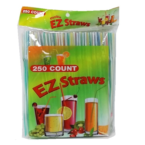 EZ Straws 250ct Flexible Asst Clrs