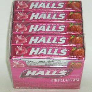 Halls Cough Drops Strawberry Triple 9pc
