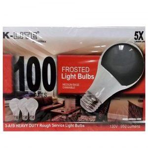 K-Lite Light Bulbs 3pk 100 Wt Frosted