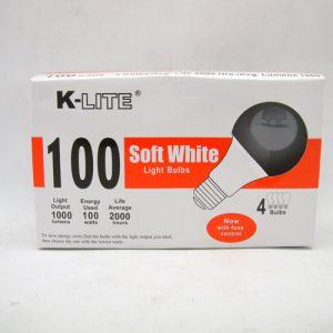 K-Lite Light Bulbs 4pk 100w Soft White
