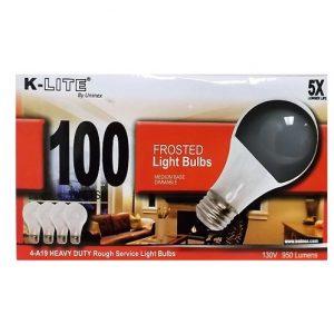 K-Lite Light Bulbs 4pk 100 Wt Frosted