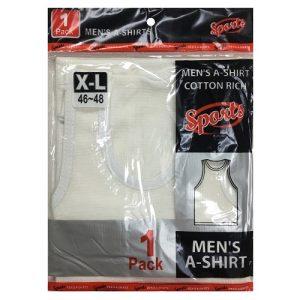 Mens A Shirt X-Lg 1pk White 46-48