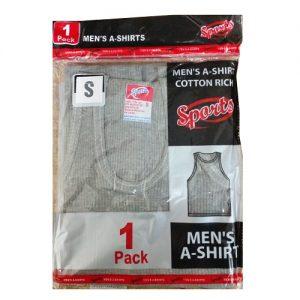 Mens A Shirt Sml 1pk Grey 34-36