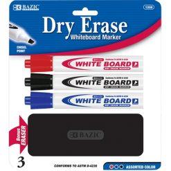Dry Erase Markers 3pk W-Eraser