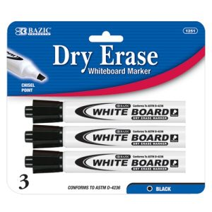 Dry Erase Markers 3pk Black