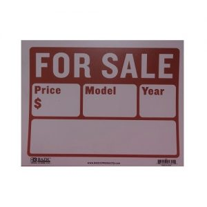 Sign AUTO FOR SALE 9 X 12in