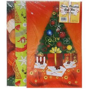 X-mas Gift Boxes Lg 3pk 4 Asst Prints