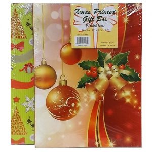 X-Mas Gift Boxes Md 4pk 4 Asst Prints