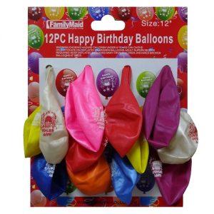 Balloons 12in 12pc Happy Birthday Asst