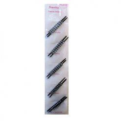 Hair Pins 10pc Black W-White Stones