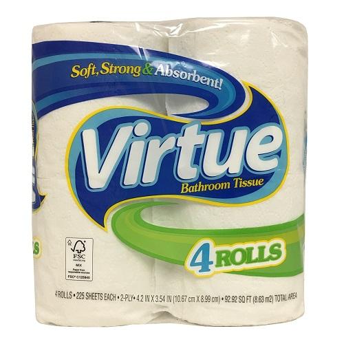 Virtue Bath Tissue 4pk Reg 225ct