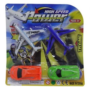 Toy Airplane Car AND Motorcycle 4pc Set