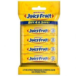 Wrigleys 4pk JUICY FRUIT Gum 5pc