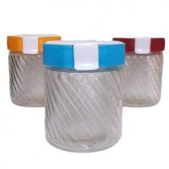***Glass Jar W-Lock Lid Asst Clrs