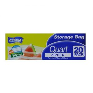 Ariana Storage Bag 1 Quart Zipper 20ct