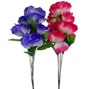 Silk Roses W-7 Heads 42cm 6 Asst Clrs