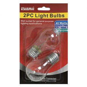 Light Bulbs 2pc Clear 40w