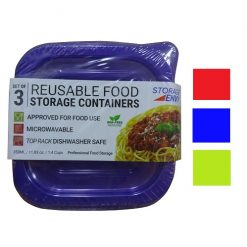 Food Containers 3pc Square Asst Reusable