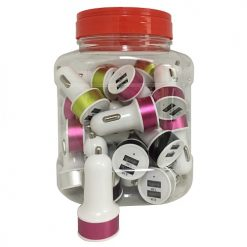Car Charger Double USB Asst Clrs