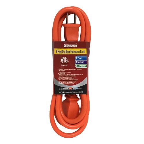 Outdoor Extension Cord 6ft Orange
