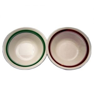 Bowl 9in Banded Asst Clrs Porcelain