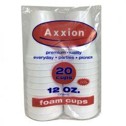Axxion Foam Cups 12oz 20ct