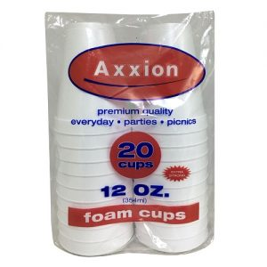 Axxion Foam Cups 12oz 20ct