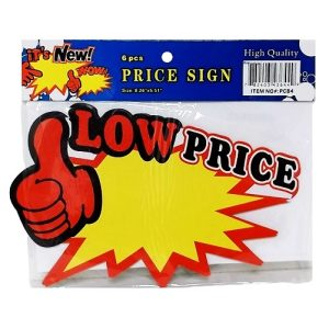 Price Sign Low Price 8.26in X 5.51in 6pc