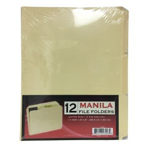 Manila File Folder 3 Tabs 12ct