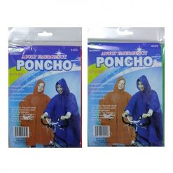 Rain Poncho Adult 52 X 80in Asst Clrs