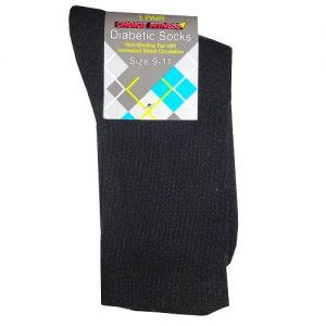 Diabetic Crew Socks 1pk 9-11 Black