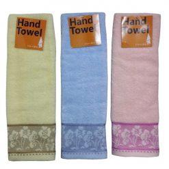 Hand Towels Asst Clrs W-Flowers