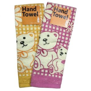 Hand Towels Bear Design Asst Clrs 13X28i