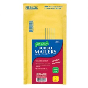 Bubble Mailers 5pk 4 X 7.25in Ylw