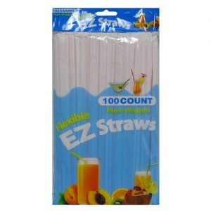 EZ Flexible Straws 100ct Paper Wrapped