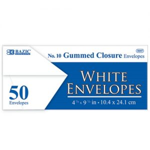 Envelopes 50ct White #10 Gummed