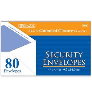 Security Envelopes 80ct White 6 ? Gummed