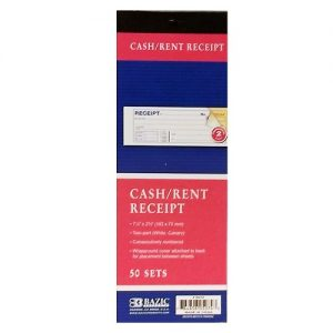 Cash-Rent Receipt 50 Sets 2 Part Carbonl