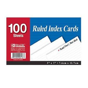Index Cards Ruled 100ct 3X5in