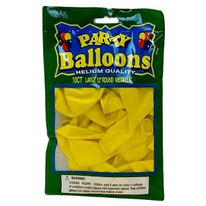 Party Balloons 10ct Yellow 12in Metallic