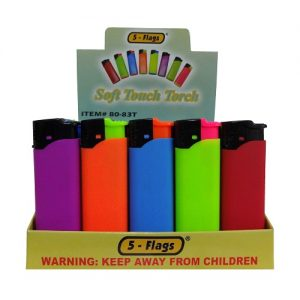 5-Flags Lighters Asst Neon Clrs