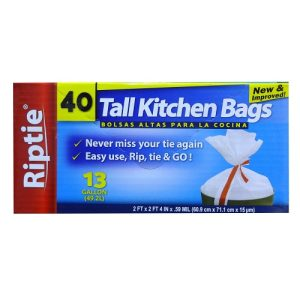 Riptie Tall Kitchen Bags 13 Gl 40ct Rip