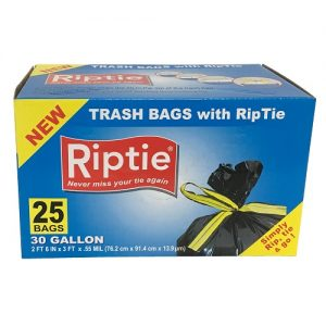 Riptie Trash Bags 30 Gl 25ct Rip Tie