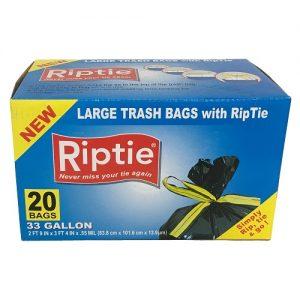 Riptie Lg Trash Bags 33 Gl 20ct Rip Tie