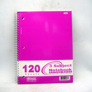 Notebook 3 Subj 120ct C-R Spiral Asst