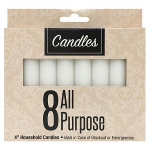 Candles All Purpose 4in 8pk White