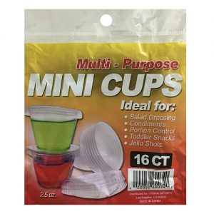 Mini Cups W-Lid 16ct Multi-Purpose