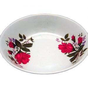 Melamine Shallow Plate 8in Red Flowers